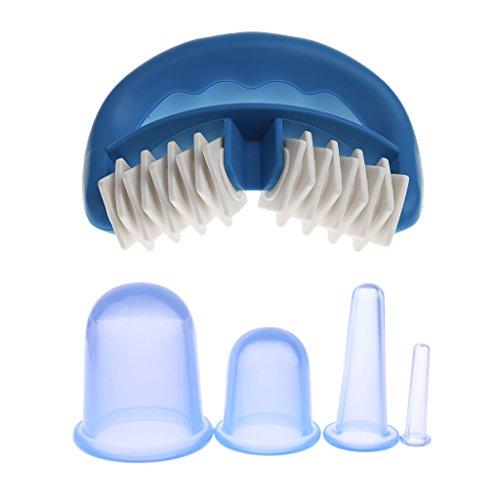 MagiDeal 1pc Massage Cellulite Anti Cellulite Masseur Manuel + 4pcs Tasses à Vide Silicone Ventouses Tasses à Minceur Aspiration Emboutissage Coupes XS/S/M/L