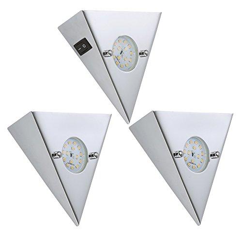 Trango 3er Set LED Einbauleuchten Einbaustrahler Küchen-Unterbauleuchten inkl. 3 x 5.0 W 400 Lumen TG7218-038