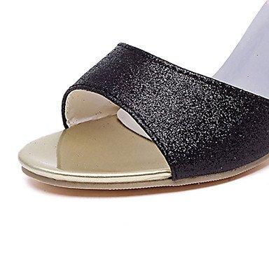 LvYuan Sandali-Formale Casual-Comoda-Kitten-PU (Poliuretano)-Nero Viola Argento Dorato Silver