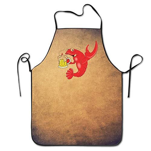 Mabell Unisex Funny Apron Chef Hen Cooking Apron Bib Crawfish Beer Restaurant Durable Maroon Rim