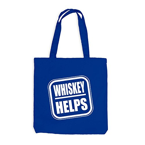 Jutebeutel Spaßmotiv Fun Therapie Whiskey Royalblau Spruch Helps RqR81rw0