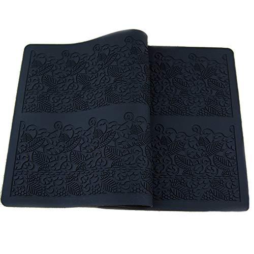 Luckiests Schwarz-Silikon-Form-Fondant-Pastell geprägte Spitzen-Kuchen-Form Zucker Mat-Dekoration-Werkzeug Relief Pad -