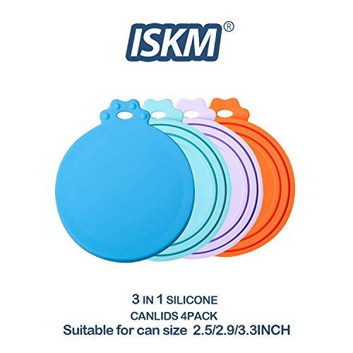 ISKM Silikon Deckel 4er Pack Sortierte Farben für Haustier Lebensmittel Dose 3 in1 Größe Flexibler Deckel Passt Alle Standard-Dose für BPA frei & FDA-Zertifiziert Haustiere (Blau Cyan Lila & Orange) Farbe Deckel