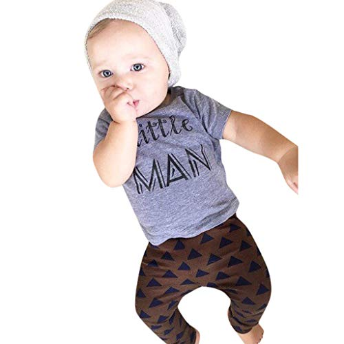 Dad Rocks Kids T-shirt (Knowin-baby body Sommer Kurzärmliges Brief-T-Shirt für Kleinkinder, Hosen-Set mit 2 Männlein Baby Boy Brief Grafik T-Shirt Tops Lange Hosen 2PCS Outfits Set (0-2Y))