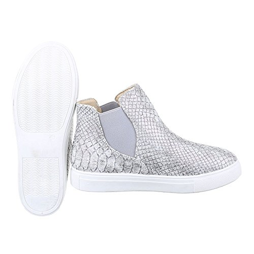 Ital-Design Chelsea Boots Damen Schuhe Chelsea Boots Moderne Stiefeletten Grau Silber X-37