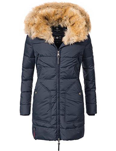 Marikoo Damen Winter-Mantel Steppmantel Knuddelmaus (vegan hergestellt) Blau Gr. XS (Frauen, Für Mäntel Fell-kapuze Unten)