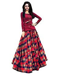 Sky Global Womens Digital Printed Banglori Silk Semi-Stitched Lehenga Choli