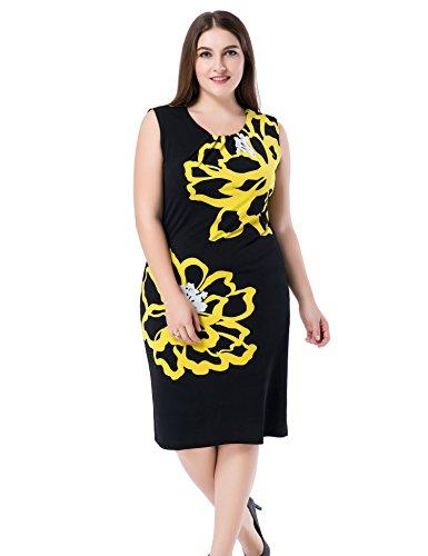 Chicwe Damen Kleid Große Größen aufgedruckte Blumen auf den Ärmeln 52, Gelb/Schwarz (Gefüttert Jeans Petite)