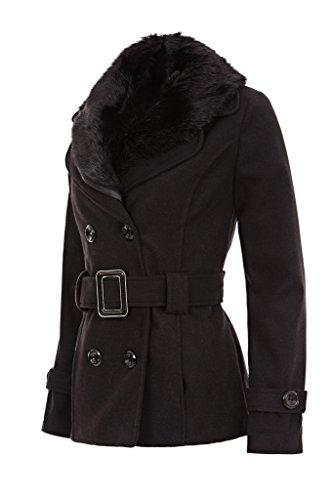 Laeticia Dreams Damen Winter Jacke Kurzjacke Blazer Fellkragen XS S M L XL , Farbe:Schwarz;Größe:40