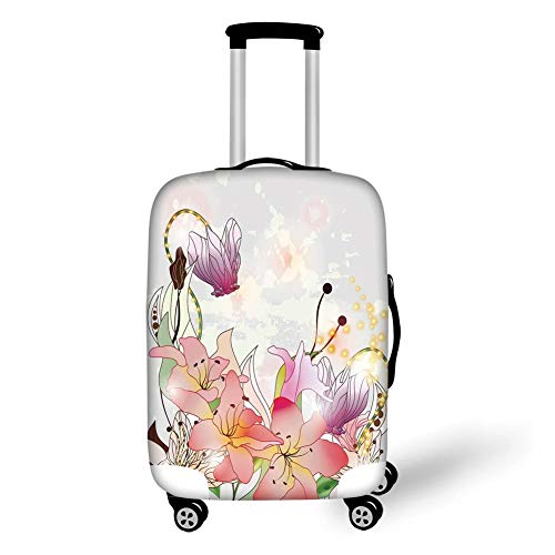 Travel Luggage Cover Suitcase Protector,Floral,Elegance Lily Blossoms in Soft Pastel Tones Enchanted Bridal Romance Kitsch Print,Multicolor,for Travel L