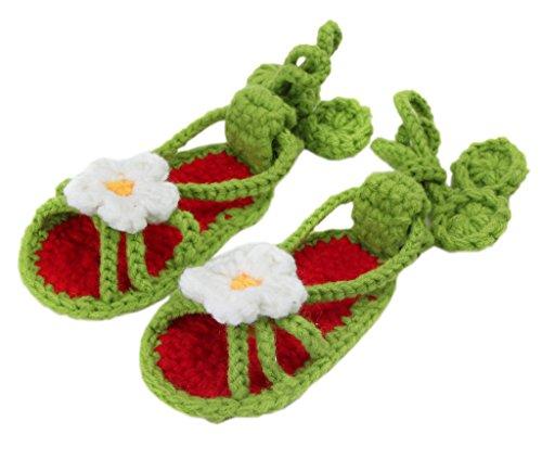 Smile YKK 1 Paar One Size Strick Schuh Baby Unisex Liebe Muster Strickschuh 11cm Hellgrün Blüte Dunkelgrün Blüte