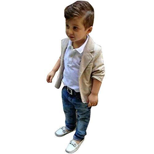 West See 3pcs Kinder Jungen Gentleman Mantel + Hemd + Jeanshosen Kinderkleidung Kleidungsset Suit (110)