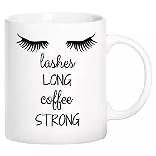 zmvise Wimpern lang Kaffee Stark Fashion Zitate weiß Keramik Tasse Perfect Christmas Halloween Gfit