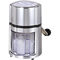 axentia Ice-Crusher Rondo in Silber, rostfreier Edelstahl-Eiscrusher mit verchromtem Gehäuse, Eiszerkleinerer inklusive Eisbehälter und Schaufel, Maße: ca. 16 x 16 x 26 cm