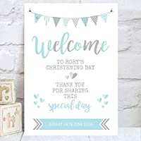 Personalised Welcome Sign for Christenings, Birthdays and Baptisms in Blue and/or Pink (BS29)