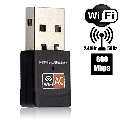 Blizim WiFi Adaptador Red 600Mbps USB Dongle Dual