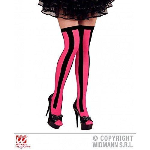 Lively Moments Halterlose Strümpfe pink schwarz 20er Jahre Burlesque / Overknees / Fasching / Kostüm / Zubehör