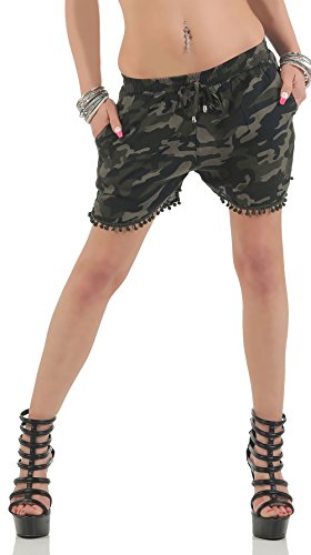 malito Excepting im Camouflage-Look Hotpant CR-1203 Damen oliv L/XL