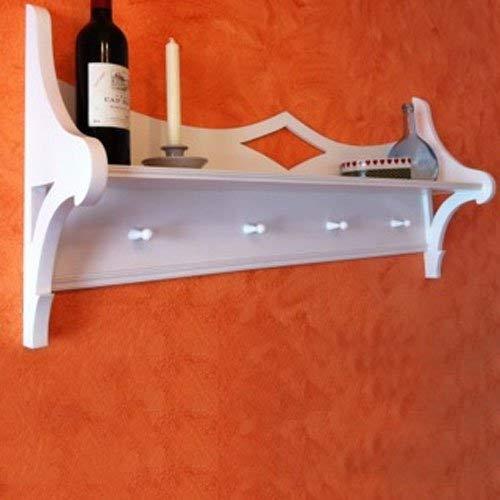 Dannenfelser Möbel Wandgarderobe Garderobe Regal Board Küchenbord LISE weiß 4 Haken #7296 -