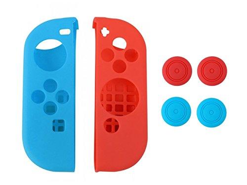 Stillshine 1Set Nintendo Switch Joy-Con Controller Silikon Hülle Fall-Haut-Abdeckungs-Schutz + 4Pcs Daumen-Griff-Kappen-Daumenstock (Stil 1) Abdeckung Schwert