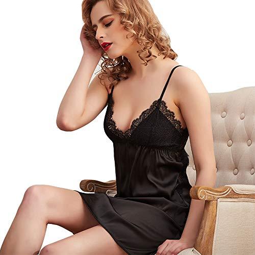 JYY Women Nightwear Sexy Lingerie Satin Chemise Spitze Nightdress Sleepwear Negligee Dessous Set für Damen Kurz Nachtwäsche Nachthemd,Black-M -