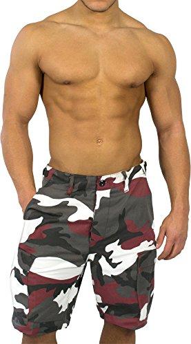 Camo Army Cargo Bdu Shorts (normani BDU Bermuda Short für Herren Farbe Red-Camo Größe S)