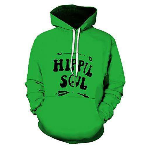 Aoogo Herren 3D Print Hoodie Langarm Brief drucken Pullover Hoodie Sweatshirt Kapuzenjacke -