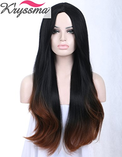 kryssma-ombre-black-brown-natural-straight-hair-wigs-for-women-for-ladies-middle-part-soft-synthetic