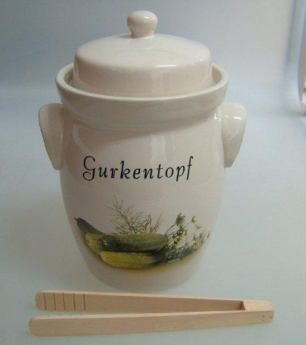 Gurkentopf 5L creme Keramik, mit Holzzange