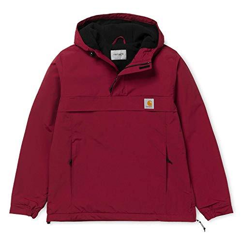 Carhartt WIP Unisex Damen Herren Winter Supplex-Nylon Nimbus Pullover mit Fleecefutter S Rot mit 7kmh Aufkleber