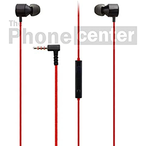 TPC© Original Auriculares Manos Libres Headset in-ear LG Quadbeat 3 (HSS-F630) para LG Flex, 2, V10, G3, G4, G5, X, K8, K10, Stylus, Rojo-Negro,