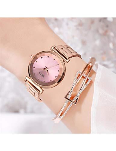 NJKHN Reloj De Las Señoras Classic Women Rose Gold Relojes Reloj De Pulsera De Acero Inoxidable Damas...