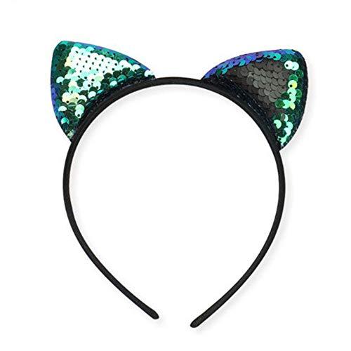 Dosige Haarreif Katzenohren Pfauenblau Glitter Shine Pailletten Cat Ear Stirnband Damen Mädchen...