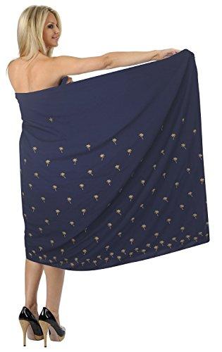 La Leela sanfte weiche Rayon Palme navyblue Sarong Vertuschung Wrap 78x39 Zoll weiß (Palme Rayon)