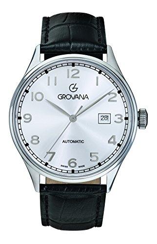 GROVANA - 1190.2532000000001 - Montre Homme - Automatique - Analogique - Bracelet Cuir Noir