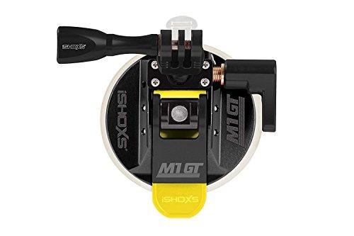 iSHOXS M1 GT, Premium Ausführung mit Aluminium ProFork und Aluminium MountHandle, Profi Suction Cup aus Aluminium mit 3D/360 Grad Kugelaufnahme für GoPro und kompatible Actioncams - Schwarz
