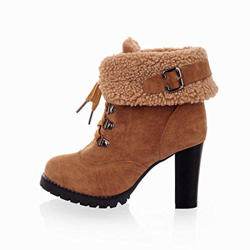 UH Femmes Chaussures Bottes avec Lacets à Talons Haut Bloc sans Plateforme avec Fourrure Bout Rond pour lhiver Jaune