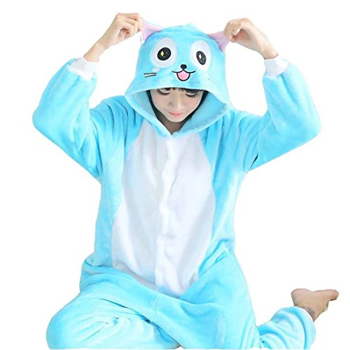 kliche Habib Katze Erwachsene Unisex Animal Cosplay Overall Pajamas Anime Schlafanzug Jumpsuits Spielanzug Kostüme (Katze Jumpsuit Kostüm)