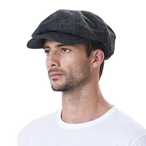 c8e2f988e585d7 WITHMOONS Béret Casquette Chapeau Newsboy Hat Wool Felt Simple Gatsby Ivy  Cap SL3525 (Black)