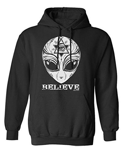 Aliens Believe Unisex Scelta di con cappuccio o un maglione (Hoodie) Black