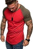 Amaci&Sons Oversize Doppel Farbig Herren Slim-Fit Crew Neck Basic T-Shirt Rundhals 1-0015 Khaki/Rot L