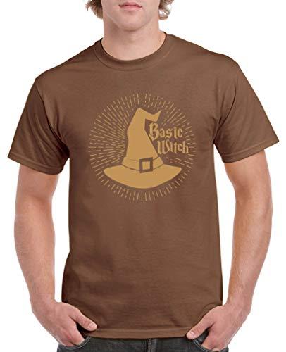 Comedy Shirts - Basic Witch - Halloween - Herren T-Shirt - Braun/Hellbraun Gr. L