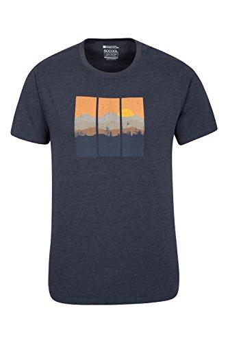 Mountain Warehouse Vertical Limits la te de Mens - Camiseta Ligera del Verano, Camisa de sequía rápida, Breathable, Tapa Anti-bacteriana Azul Marino M
