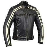 Retro Schwarz Cafe Racer dieBonnie 100% Bovine Leder Motorrad-Jacke CE Armoured–Elfenbein Streifen Gr. XX-Large, Schwarz - Schwarz