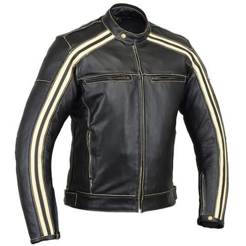 Retro Schwarz Cafe Racer die Bonnie 100% Bovine Leder Motorrad-Jacke CE Armoured-Elfenbein Streifen Gr. XX-Large, Schwarz - Schwarz Racer Jacke