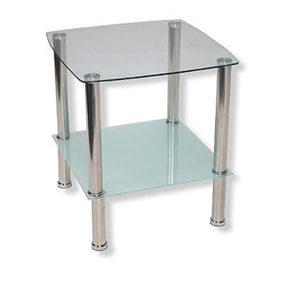 ROLLER Beistelltisch TWIGGI - Glasplatten - silber - Milchglas