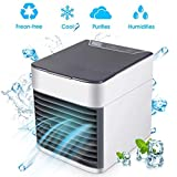 Air Cooler, 3in1 Small Air Conditioner Humidifier Purifier, 3 Fan Speeds 7 Colors LED Lights USB Personal Space Air Condition Cooler Portable Desktop Air Conditioning for Home Office Outdoor