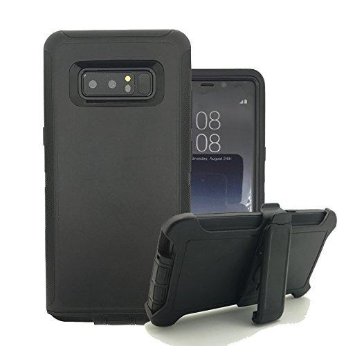 Harsel Galaxy Note 8Case, Heavy Duty Triple Layer High Impact Resistant Hybrid Rugged Hard Bumper Soft Silikon Cover Haut mit drehbarer Gürtelclip Ständer für Galaxy Note 8Fall, Schwarz (3 Tab Samsung Militär-fall)