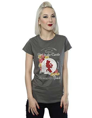 Disney Femme Beauty And The Beast Girl In The Castle T-Shirt Charbon de bois