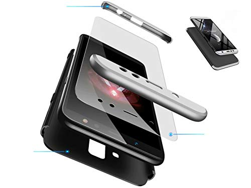 DYGG kompatibel mit hülle für Huawei Mate 10 lite hülle,360 Grad Schutz Schutzhülle Ultra dünn Soft PC Hartgummi handyhülle Case Cover + Displayschutzfolie- Schwarz und Silber